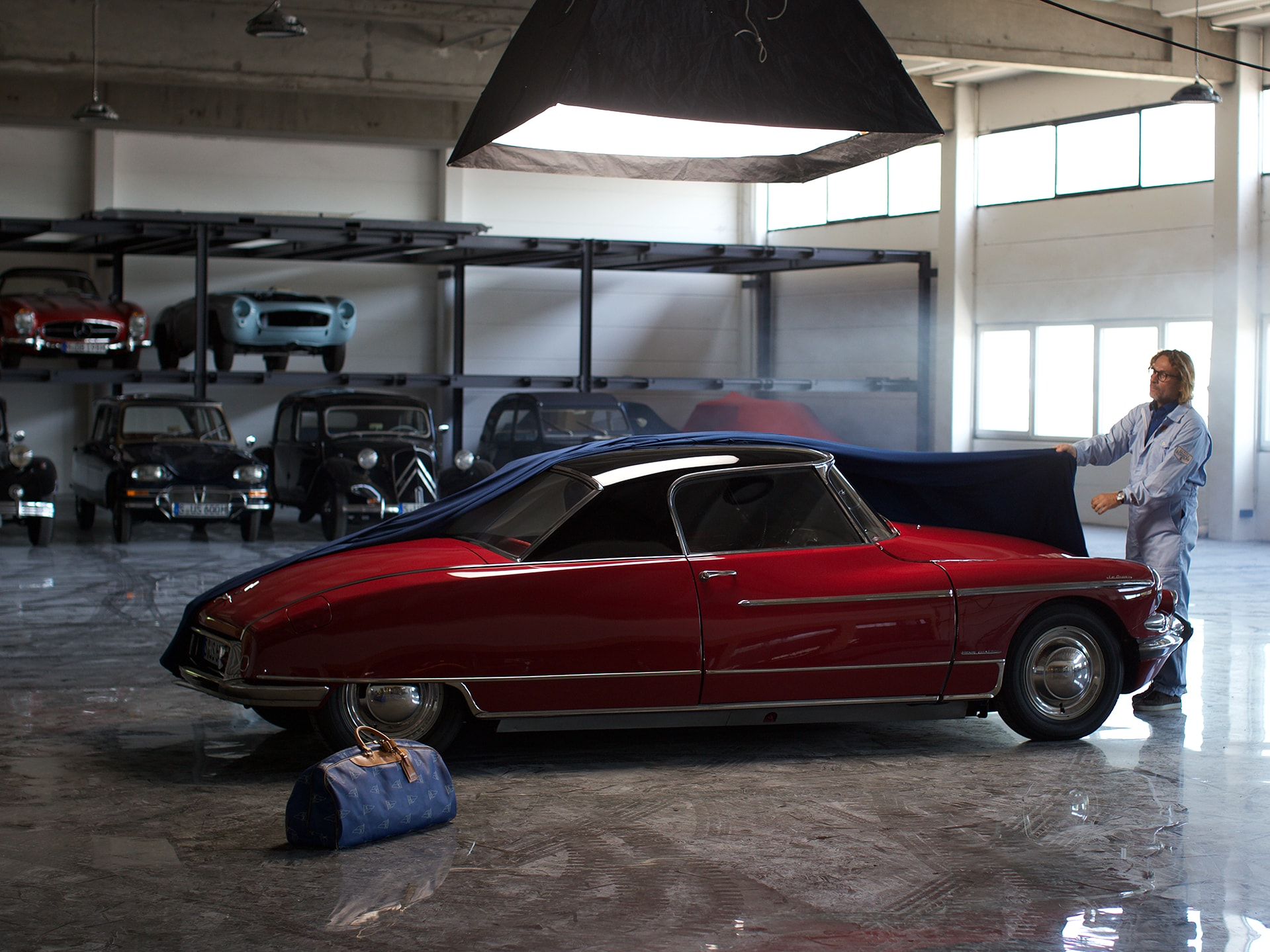 Car collector Hans Ulrich Scholpp during the shoot